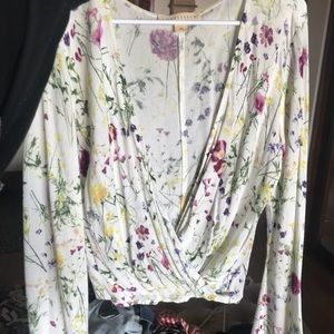 White floral blousy top